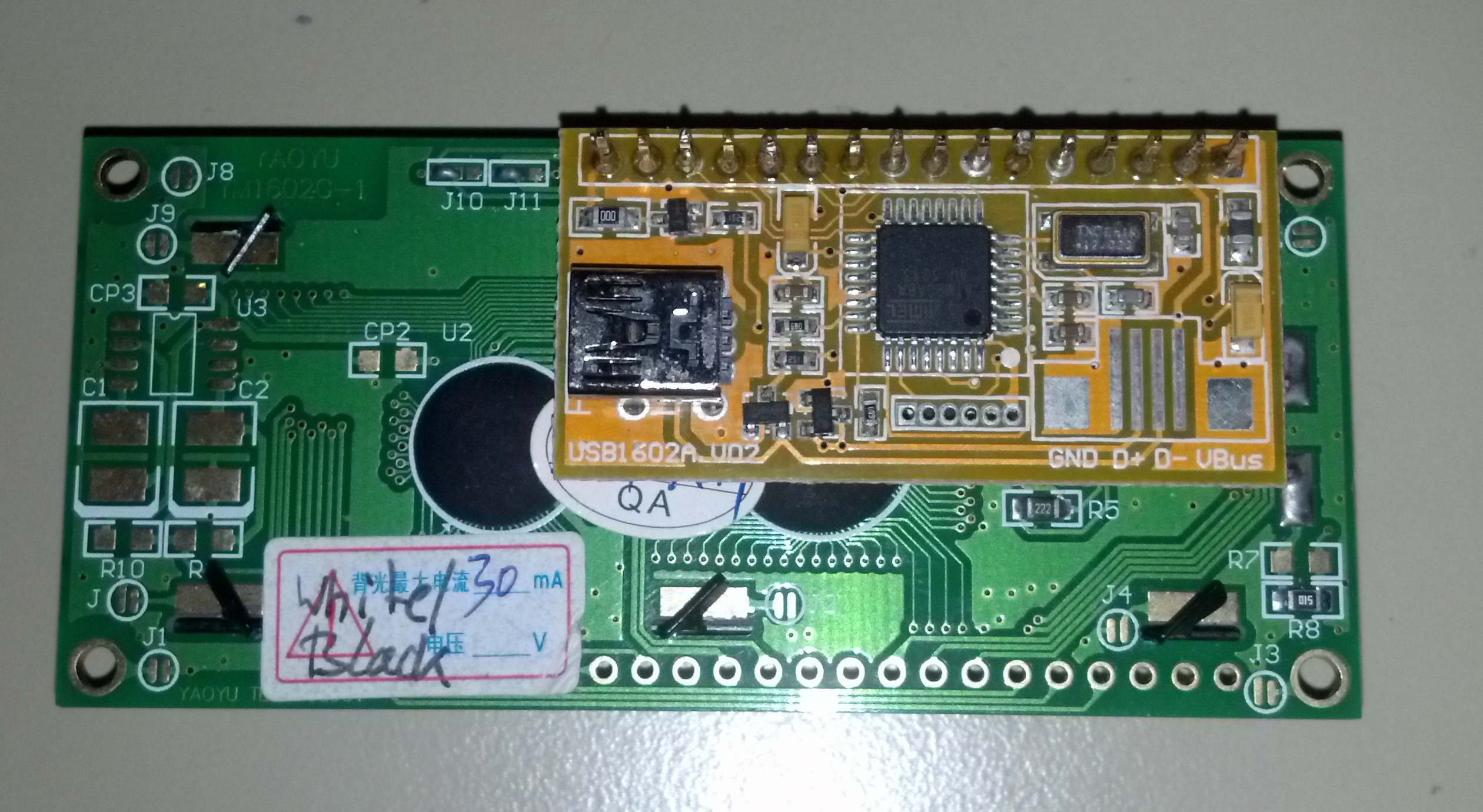 Lcd2usb Compatible Board Assembled To A 16x2 LCD 1 Row Version